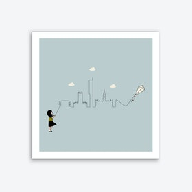 Manchester Skyline Kite Art Print