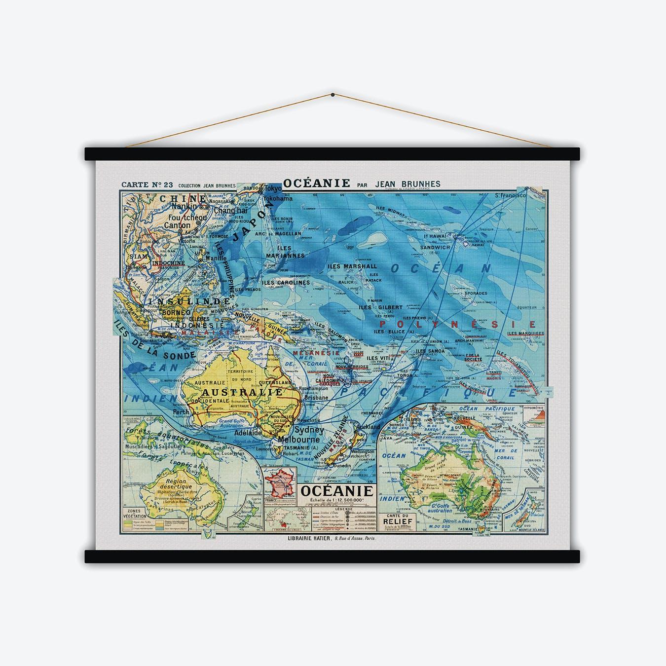 Océanie Vintage Map