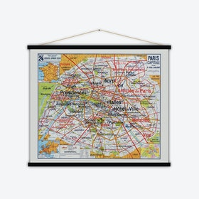 Paris Capitale Vintage Map