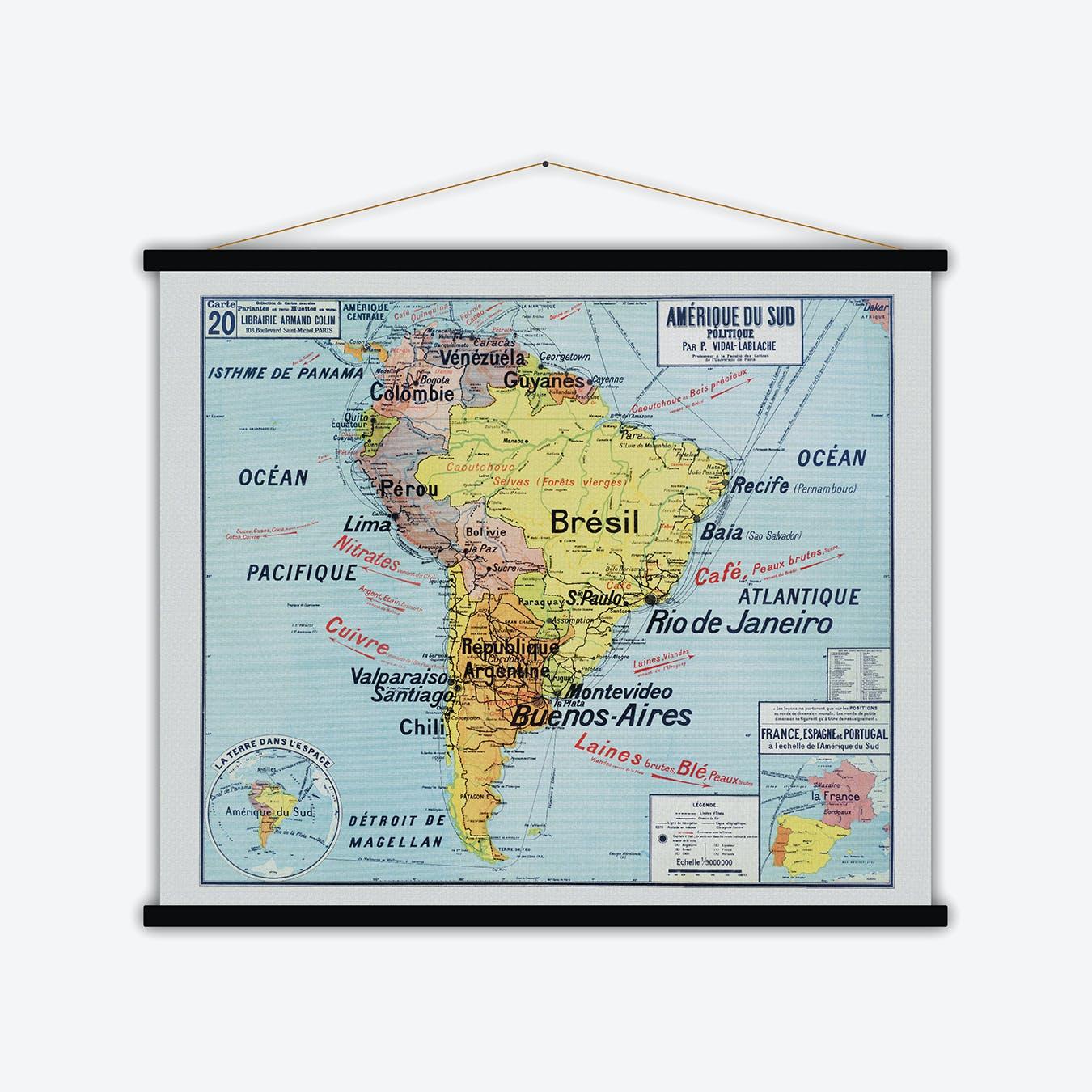Amérique du Sud Vintage Map