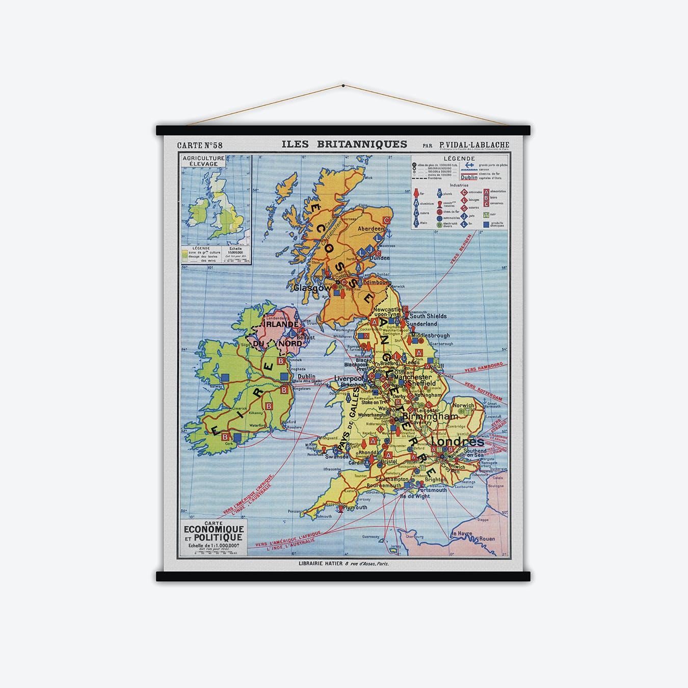 Iles Britanniques Vintage Map