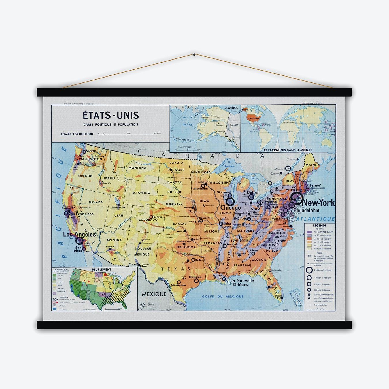 Etats-Unis Vintage Map