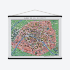 Paris et monuments Vintage Map