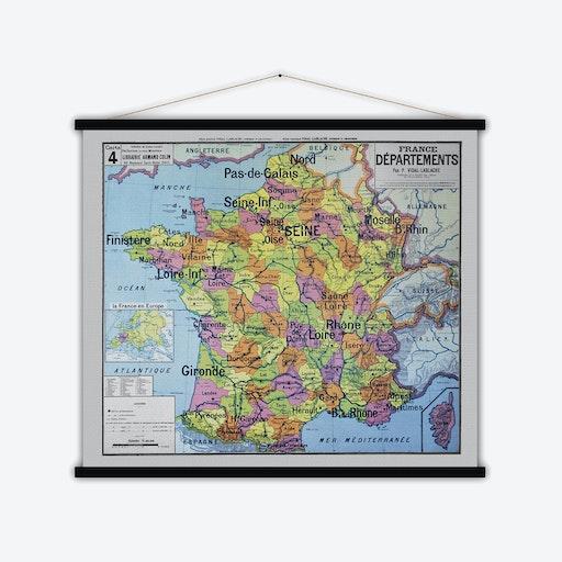 France Départements Vintage Map