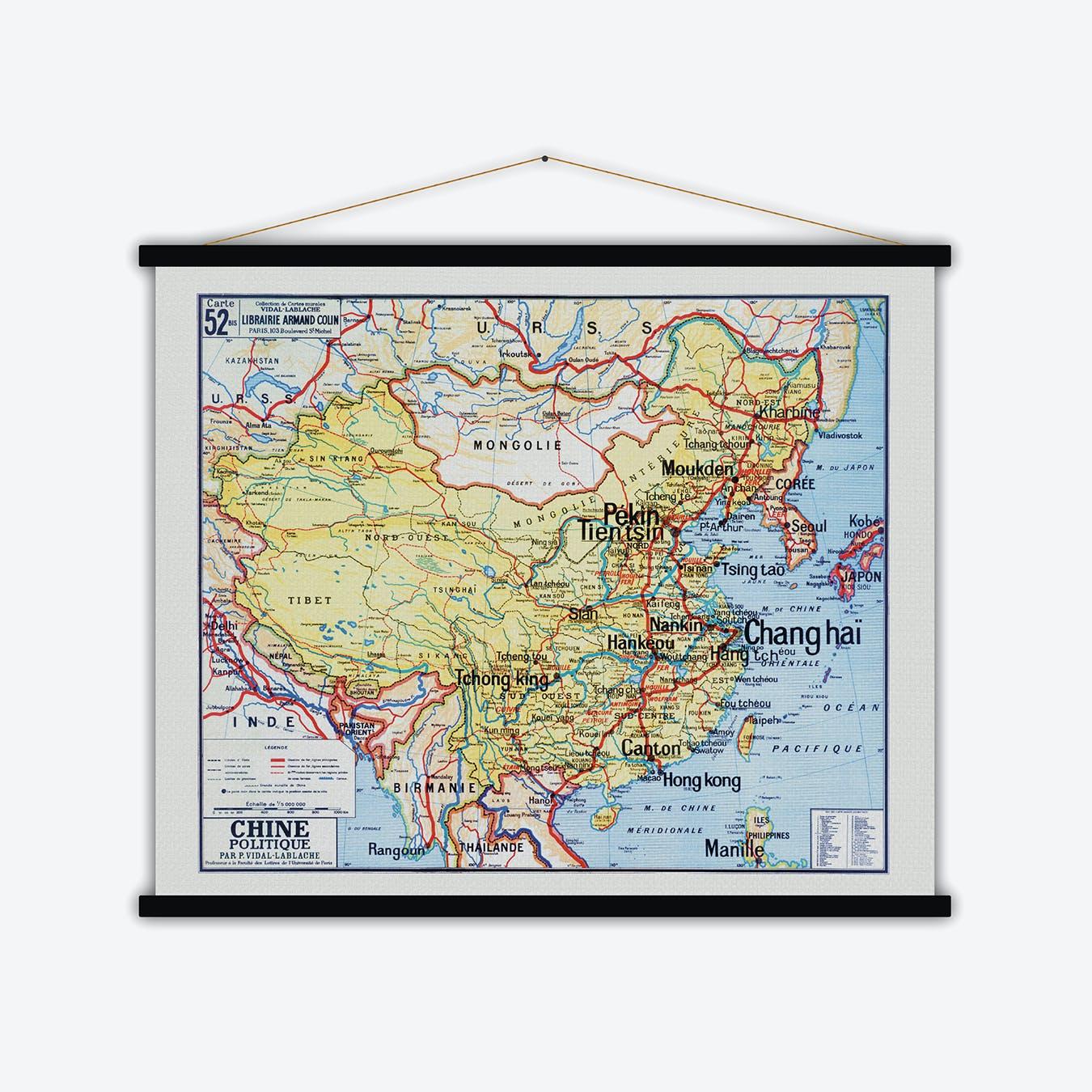 Chine Politique Vintage Map