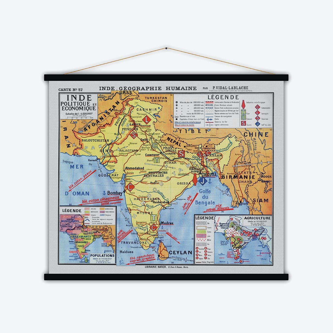 Inde Politique et Economique Vintage Map