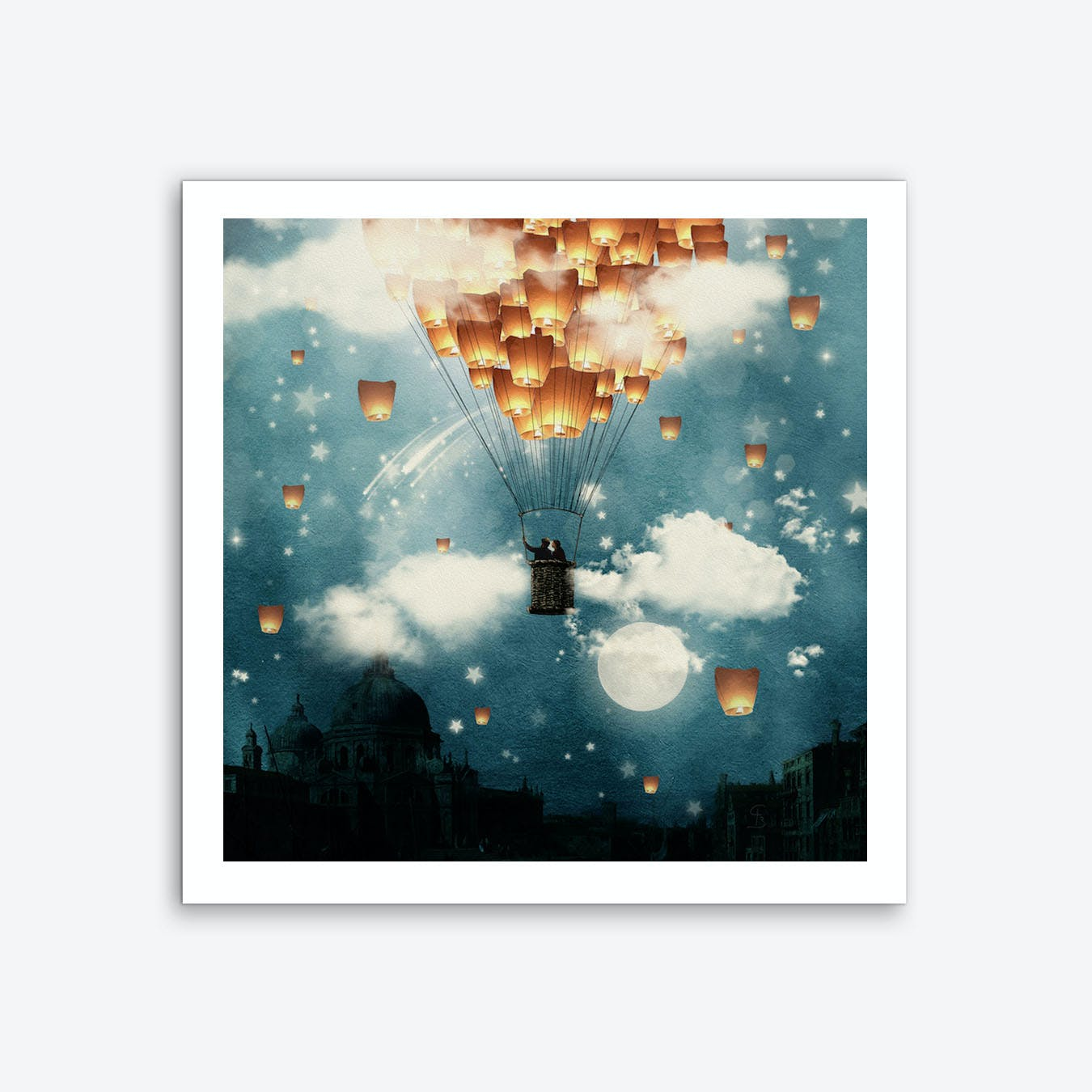 Love Wish Lanterns Flight Art Print