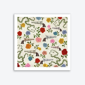 Sweet Guns and Roses Art Print