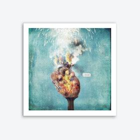 Love - Heart on Fire Art Print