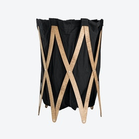Marie Pi Laundry Basket in Anthracite/Walnut