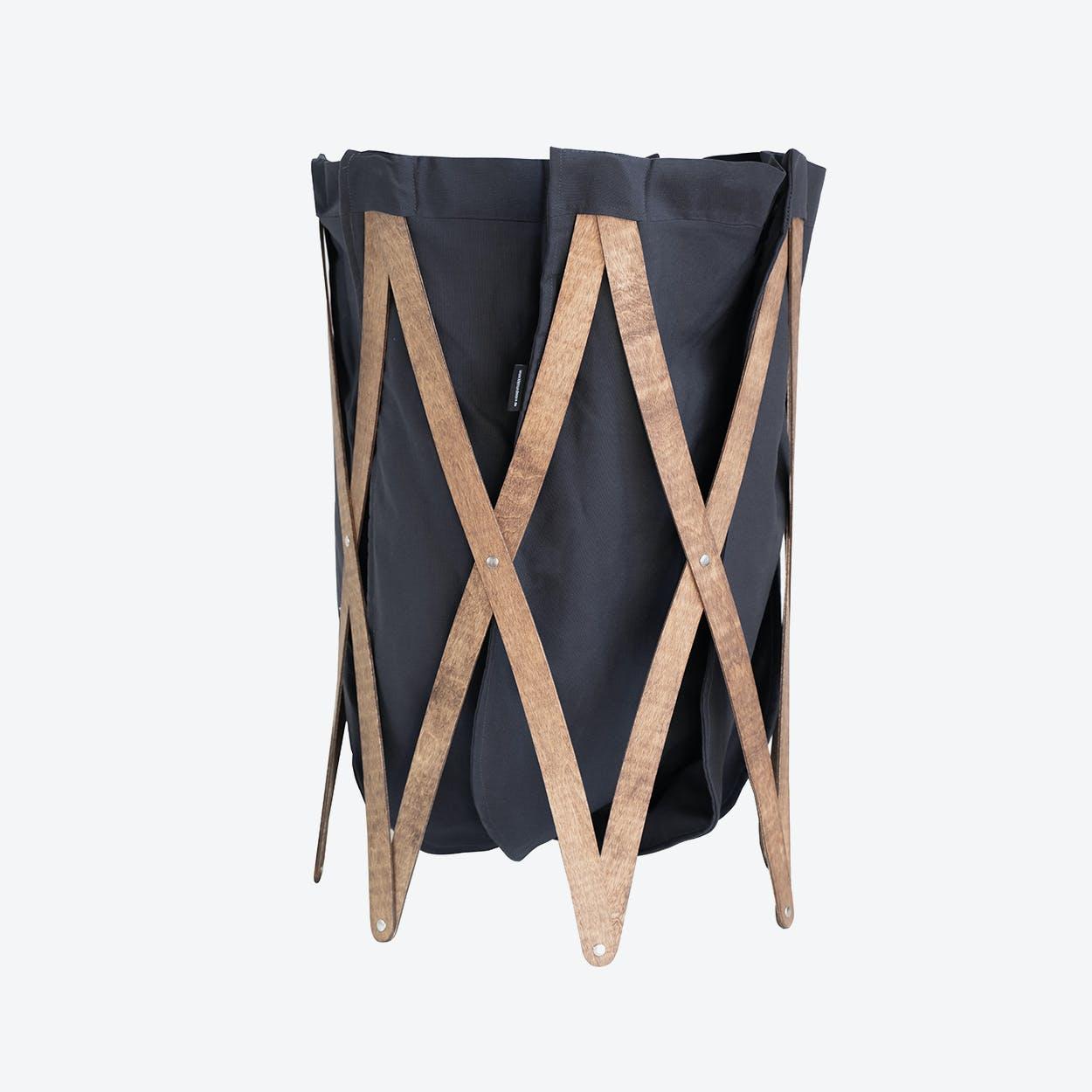 Marie Pi Laundry Basket in Navy/Walnut