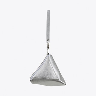 Pyramid Wristlet Clutch in Silver