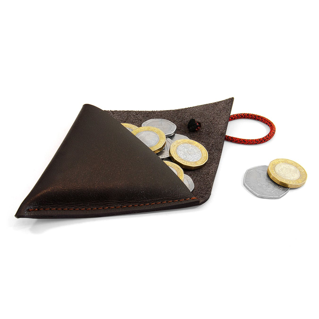 Deep Brown Dunster Leather and Rope Coin Purse