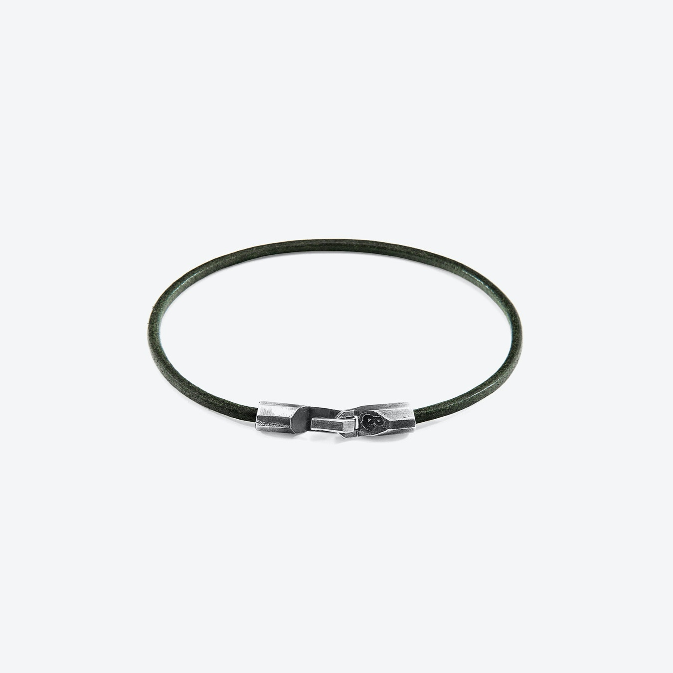 Silver And Round Leather Bracelet