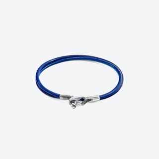 Azure Blue Tenby Silver and Round Leather Bracelet