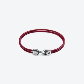 Bordeaux Red Cromer SIlver and Round Leather Bracelet