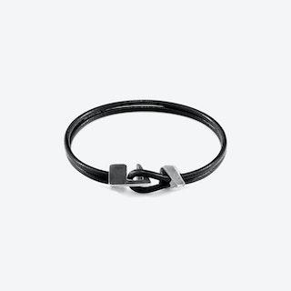 Raven Black Brixham Silver and Round Leather Bracelet