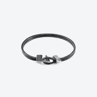 Shadow Grey Brixham Silver and Round Leather Bracelet