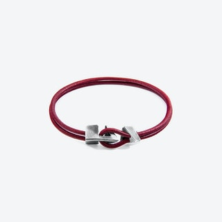 Bordeaux Red Brixham Silver and Round Leather Bracelet