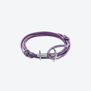 Grape Purple Admiral Anchor Silver and Flat Leather Bracelet