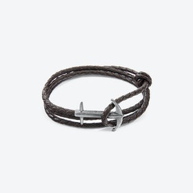 Dark Brown Admiral Anchor Silver and Braided Leather Bracelet