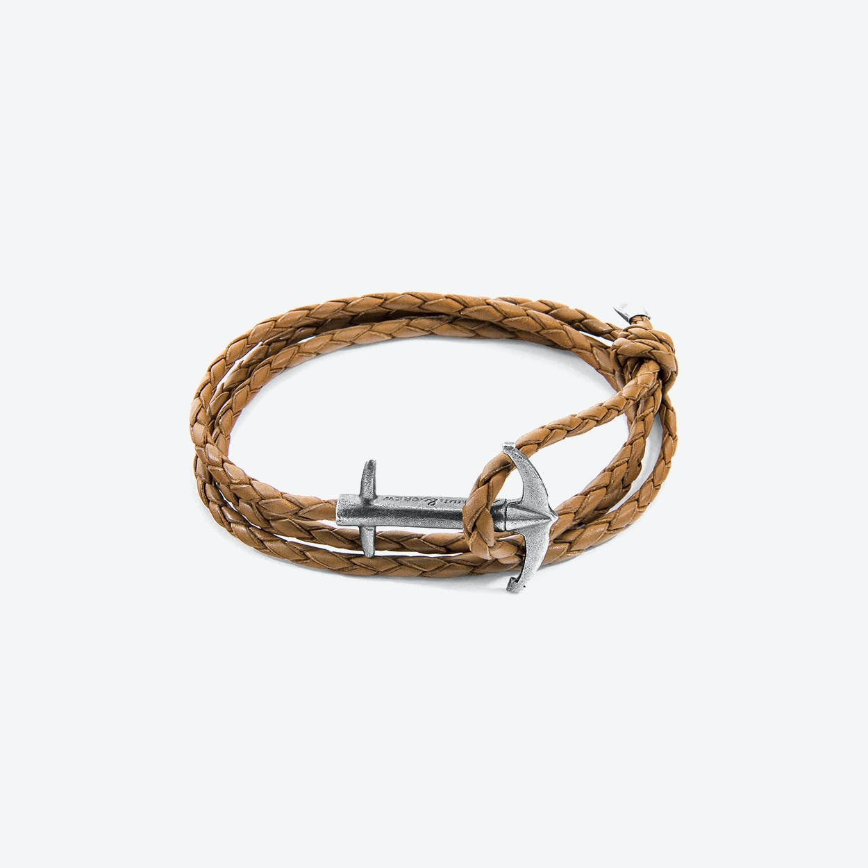 Light Brown Admiral Anchor Silver and Braided Leather Bracelet