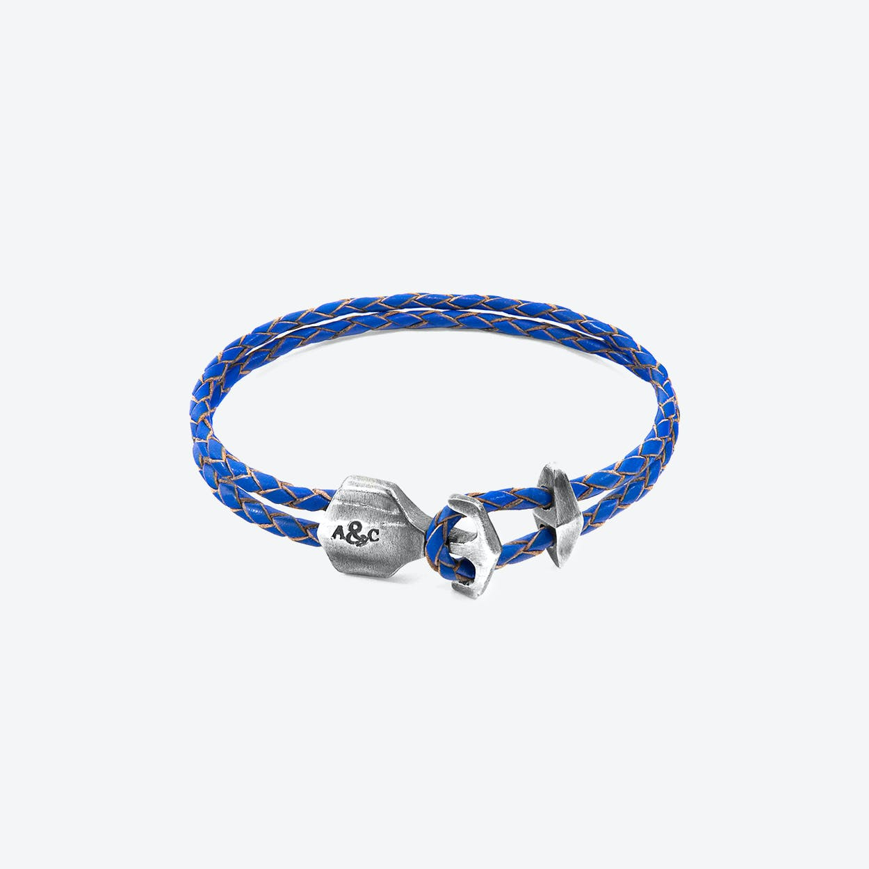 Royal Blue Delta Anchor Silver and Braided Leather Bracelet