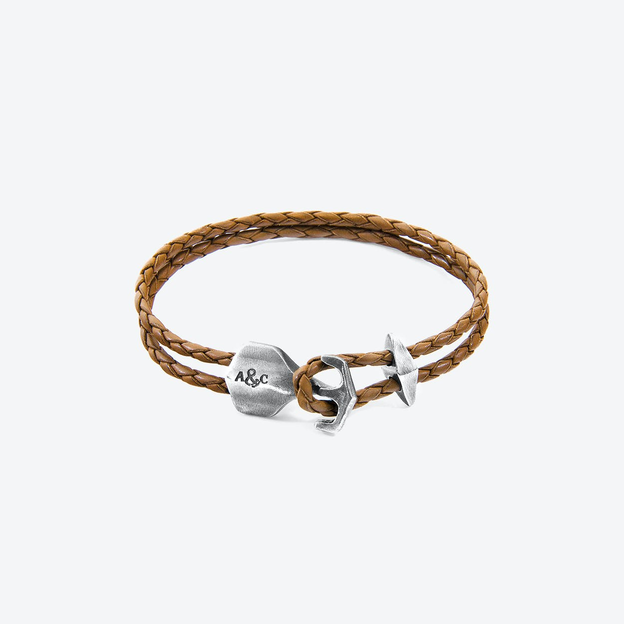 Light Brown Delta Anchor Silver and Braided Leather Bracelet