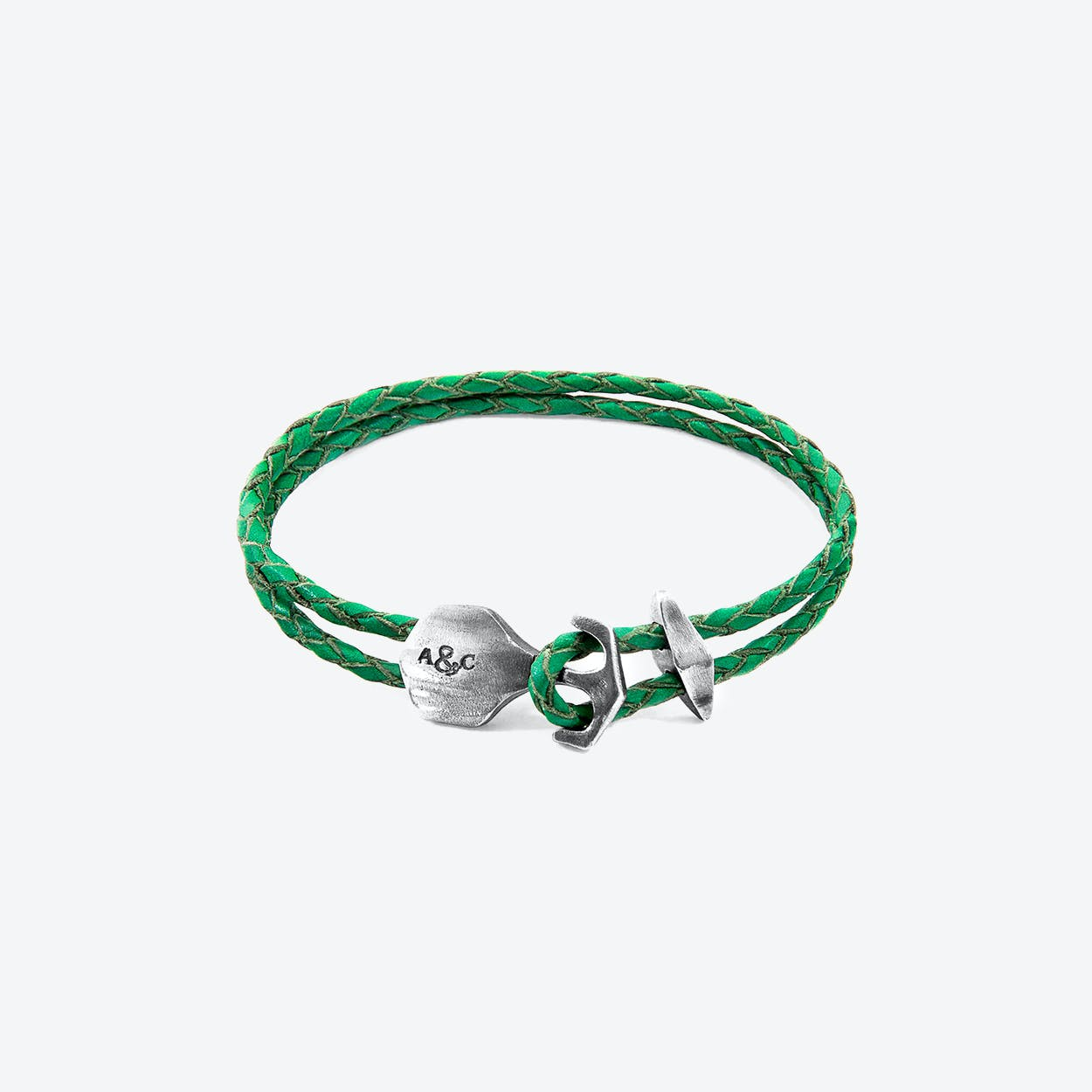 Fern Green Delta Anchor Silver and Braided Leather Bracelet