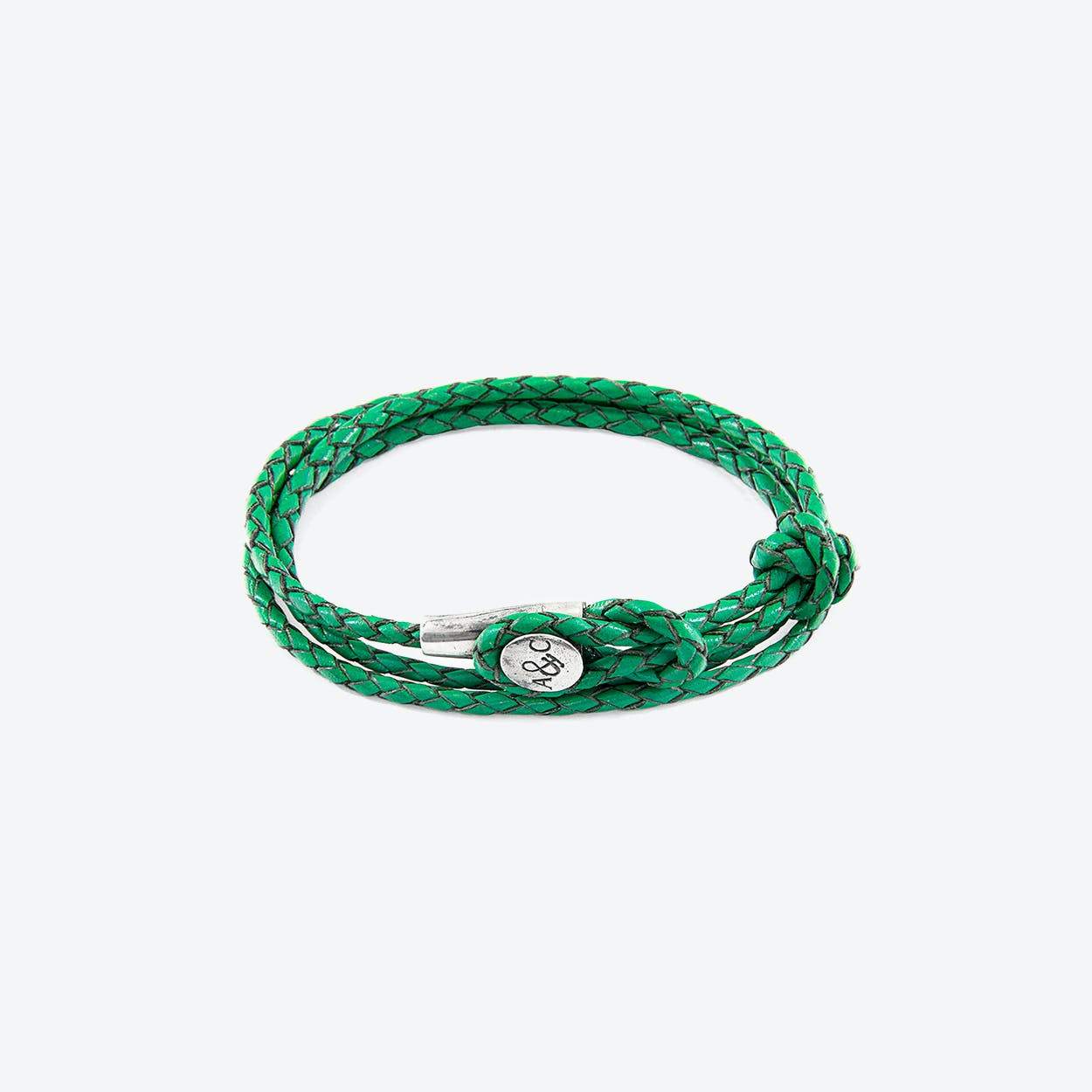 Fern Green Dundee Silver and Braided Leather Bracelet
