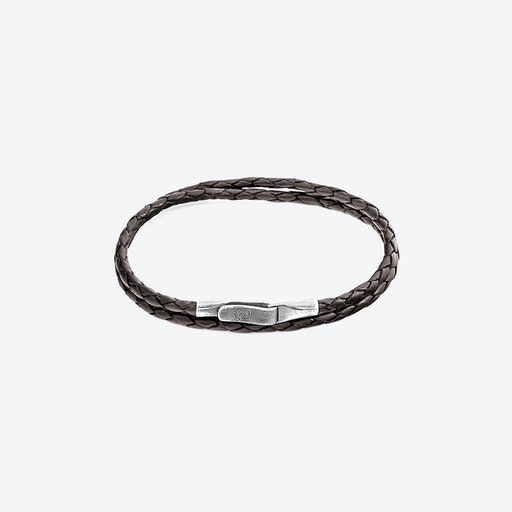 Dark Brown Liverpool Silver and Braided Leather Bracelet