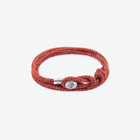 Red Noir Dundee Silver and Rope Bracelet