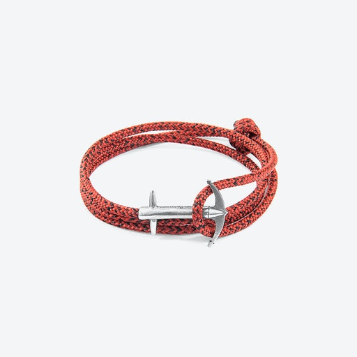 Red Noir Admiral Anchor Silver and Rope Bracelet