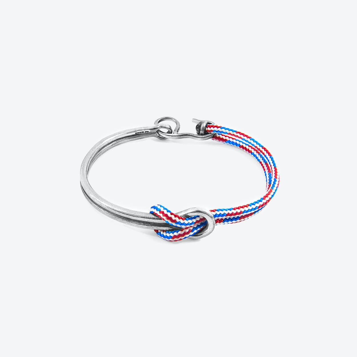 Project-RWB Red White and Blue Tay Silver and Rope Half Bangle