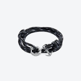 Black Clyde Anchor Silver and Rope Bracelet