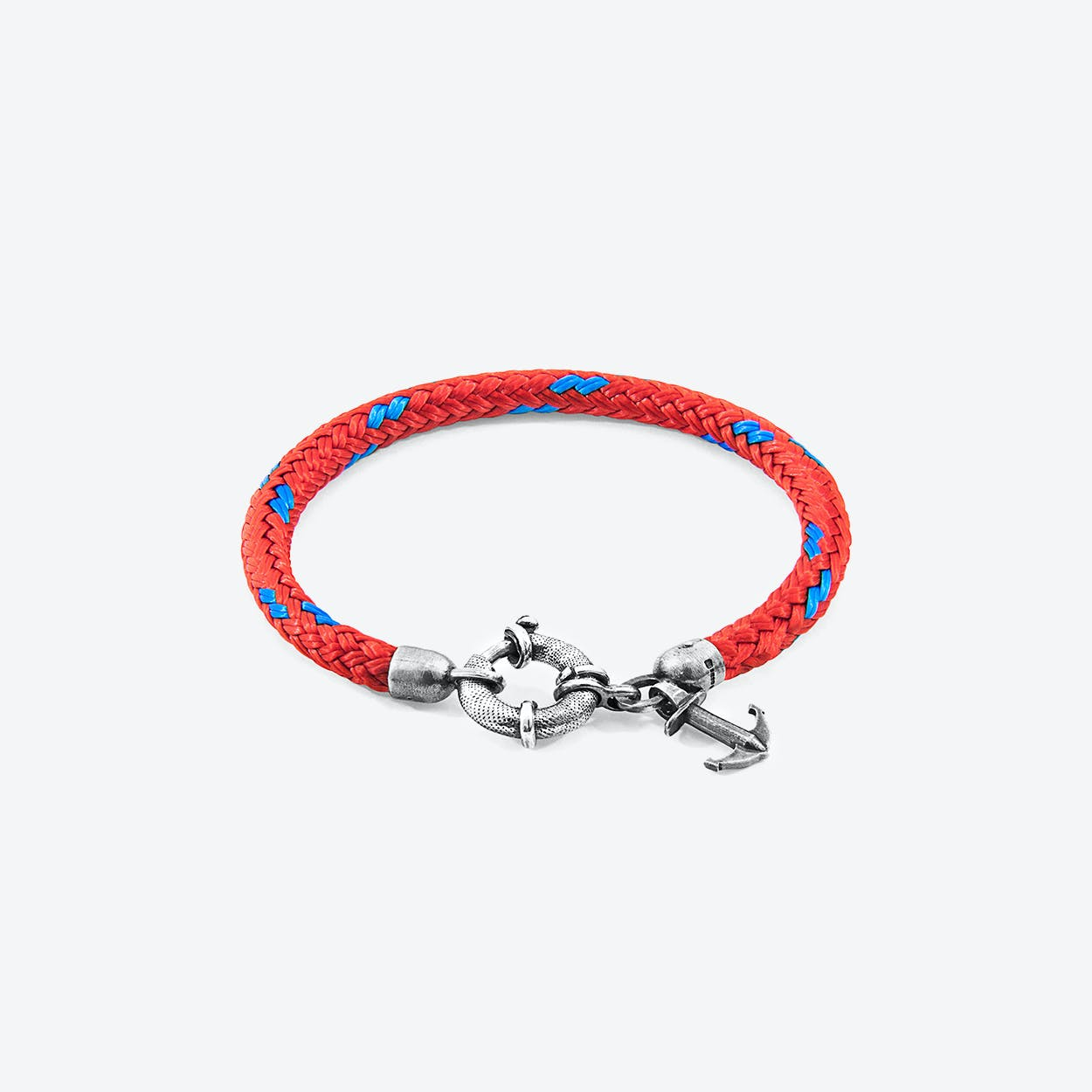 Red Salcombe Silver and Rope Bracelet