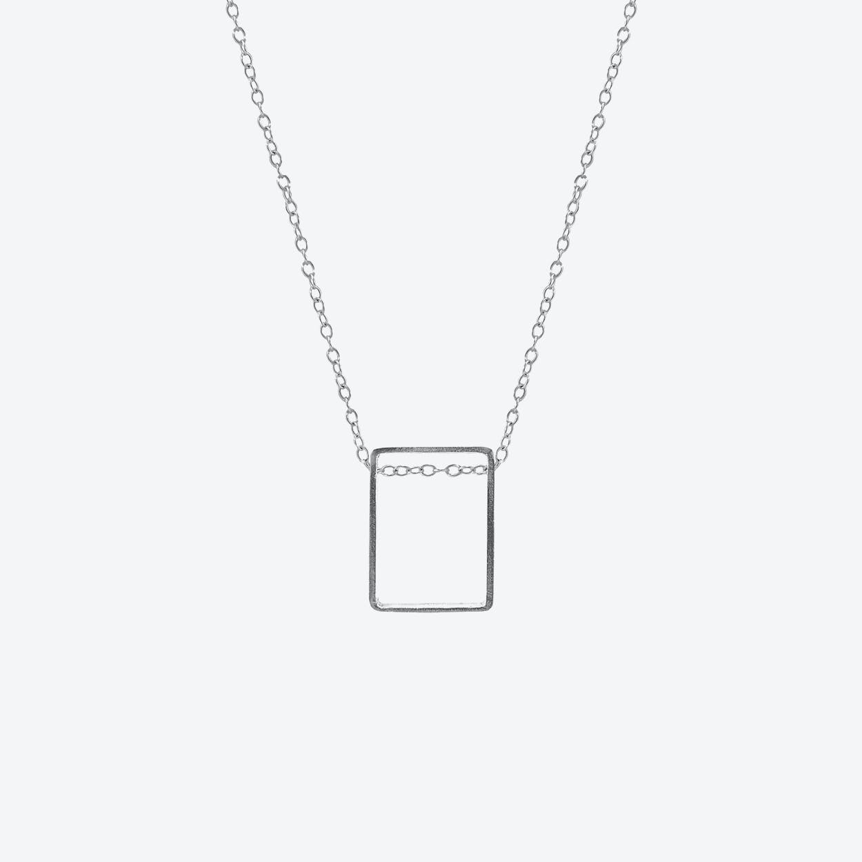 Bowen Box Mini Geometric Silver Necklace Pendant