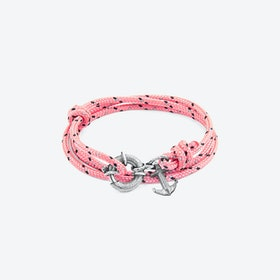 Pink Clyde Anchor Silver and Rope Bracelet