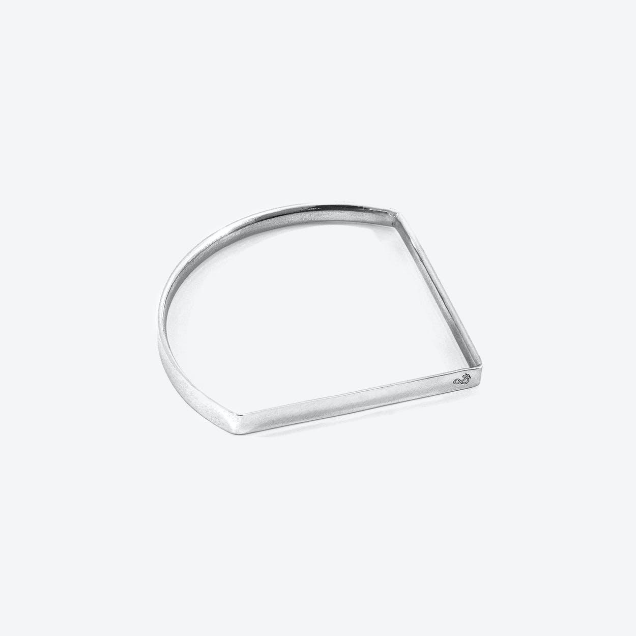 Holden Quarter Circle Geometric Silver Bangle
