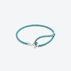 Turquoise Blue Blake Silver and Braided Leather Bracelet