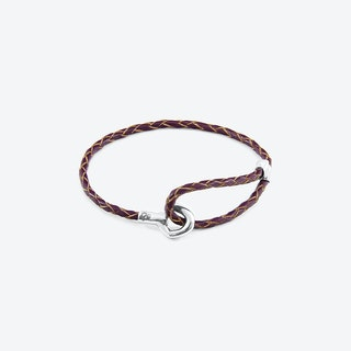 Deep Purple Blake Silver and Braided Leather Bracelet