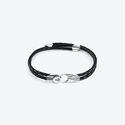 Coal Black Conway Silver and Braided Leather Bracelet