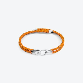 Fire Orange Conway Silver and Braided Leather Bracelet
