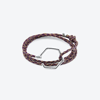 Deep Purple Storey Silver and Braided Leather Bracelet