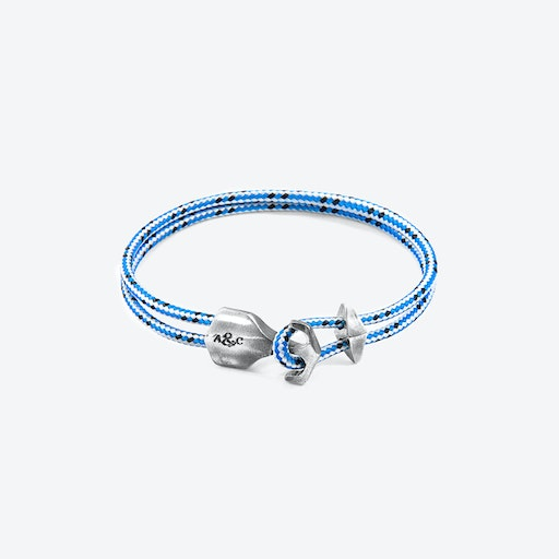 Blue Dash Delta Anchor Silver and Rope Bracelet