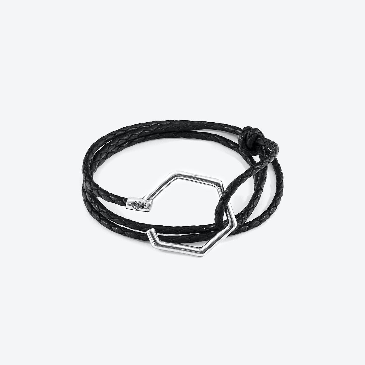 Coal Black Storey Silver and Braided Leather Bracelet