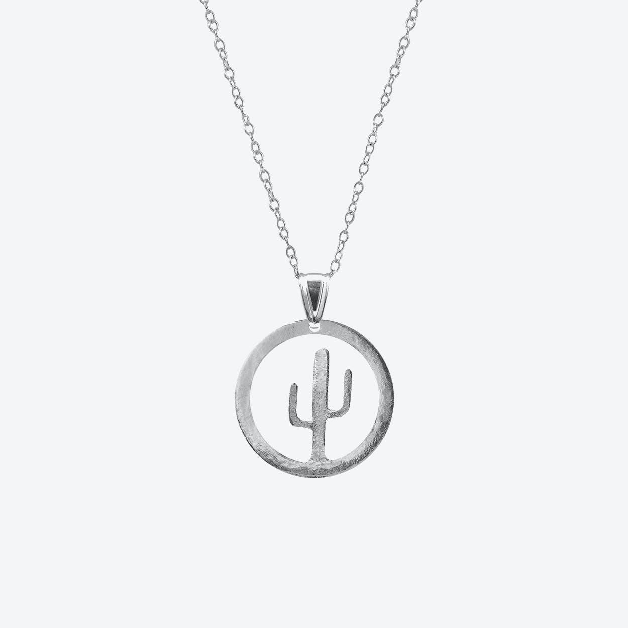 Cactus Tree Disc Paradise Silver Necklace Pendant