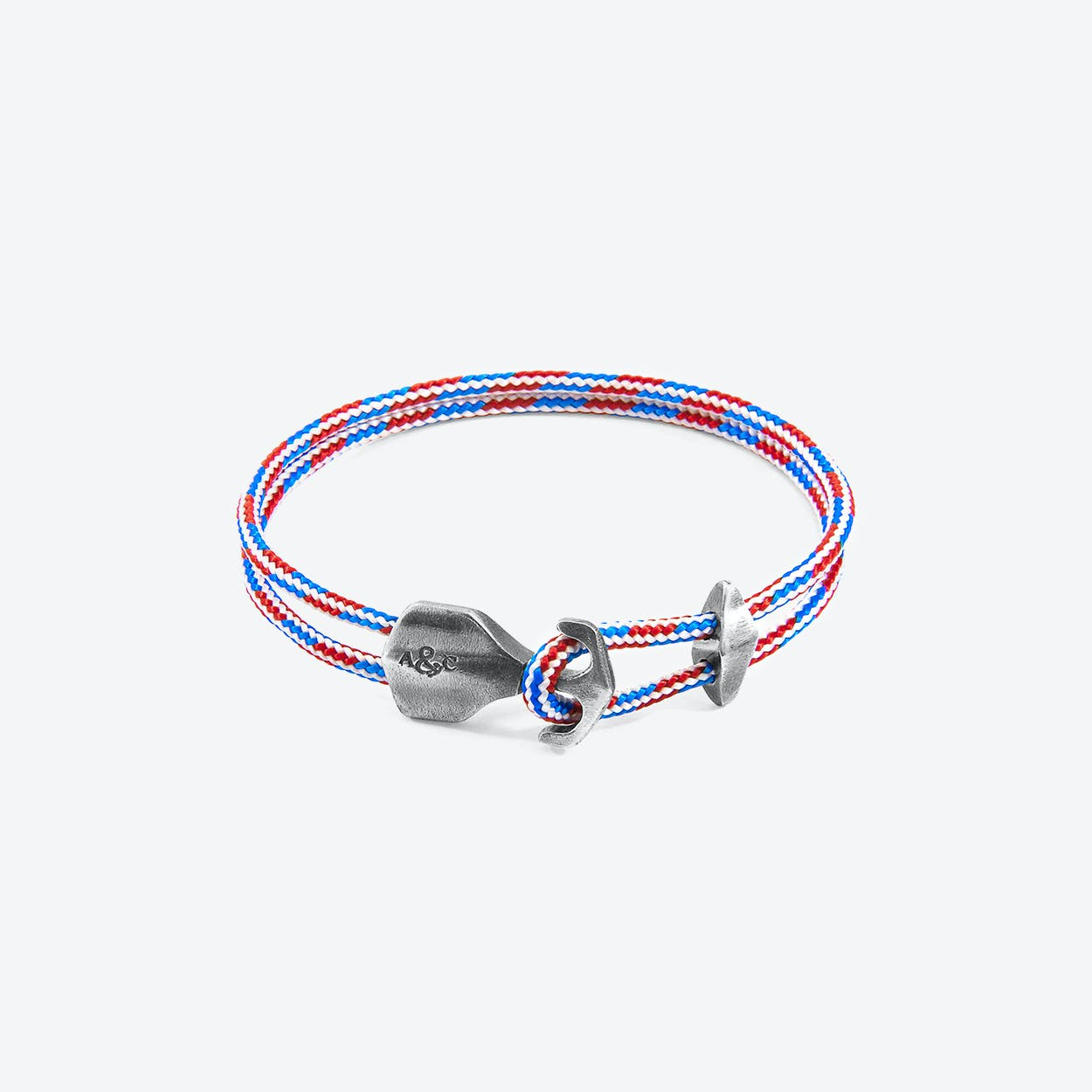 Project-RWB Red White and Blue Delta Anchor Silver and Rope Bracelet