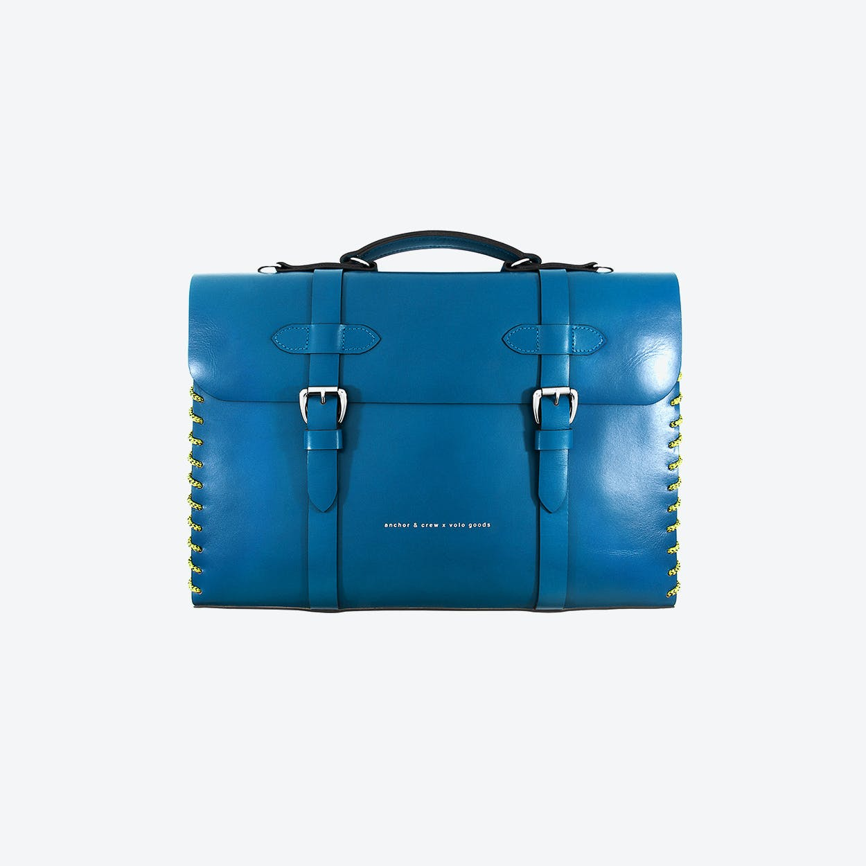 Small Traffic Blue Rufford Leather and Rope Briefcase
