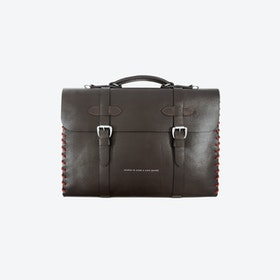 Small Deep Brown Rufford Leather and Rope Briefcase